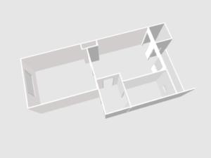 Grundriss der neuen Wohnung. Links: Wohnschlafraum, rechts daneben schließt sich die Küche an. Davon geht eine Abstellkammer und Balkon ab. Von der Küche geht es in den Flur. Im Flur der Zugang zum Bad.