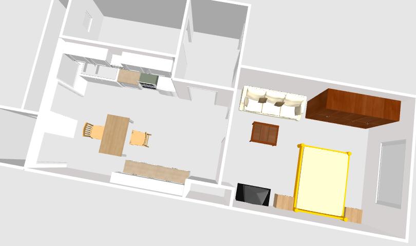 links nach rechts: In Küche eine Küchenzeile 3,10m breit. Gegenüberliegend weitere Küchenunter- und -oberschränke 2m breit. In der Mitte ein Tisch mit 2 Stühlen. Im Wohnschlafraum ein Sofa mit Sofatisch davor. Daneben ein 2m breiter Kleiderschrank. Gegenüber: Bett mit 1,40 breite, 1 Nachttisch, 1 Fernsehgerät.