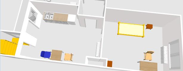 Screenshot 3D-Sicht. Links eine kleine Abstellkammer mit Regalen, daran anschließend Küche mit 2,40m breiter Kücheneinheit. Gegenüber stehend ein Tisch mit 2 Stühlen. Auf der rechten Bildhälfte der Wohnraum. Ein Futon, kleiner Hocker. Gegenüber ein kleiner Tisch mit einem Stuhl, sowie einem kleinen Schränkchen.