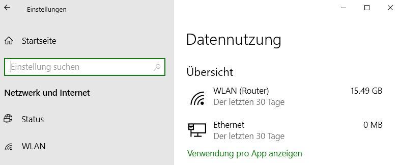 Screenshot Windows 10 mit Angabe: 15,49 GB in 30 Tagen