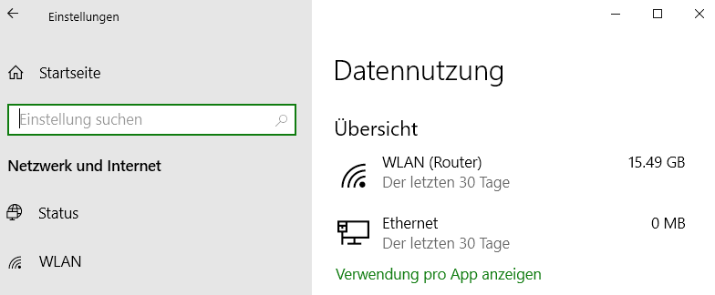 Screenshot Windows 10 mit Angabe: 15,49 GB in 30 Tagen