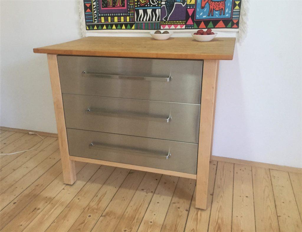 Schubladenschrank, Holzgestell mit 3 Schubladen, Värde von Ikea