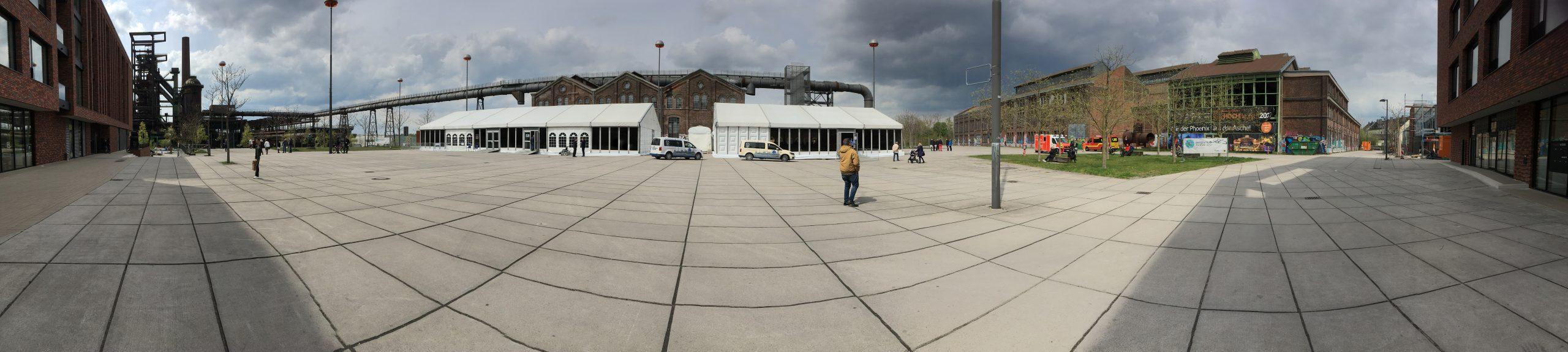 Phoenix West Dortmund Panoramablick auf das Impfzentrum